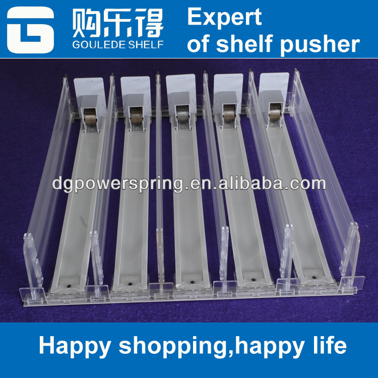 PVC widely use shelf mangement system shelf pusher tray auto pusher and divider