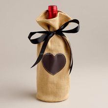 Screen Printing Drawstring Closure Wine Bag/Burlap Gift Drawstring Bag