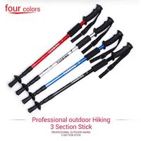 1 x 3 section adjustable Light & strong Aluminium stick to walk antishock alpenstock hiking climbing stick trekking pole TB-3