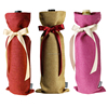 Linen Fabric Wine/Water Bottle Tote Carry-on Promotional Bag