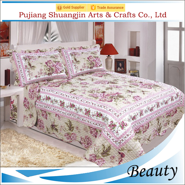 Elegant queen size wedding 100% stitching polyester fake patchwork duvet cover with shams