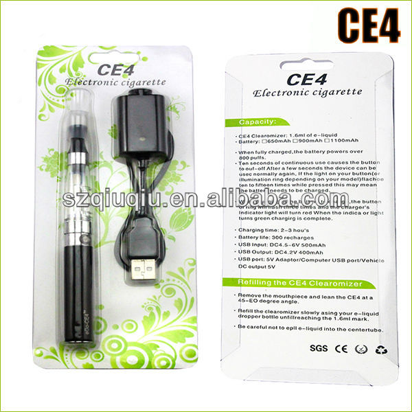 2014China Manufacture Factory ego ce4+ 1.6ml replace ce4+ coils fit battery 650mAh blister pack electronic cigarette