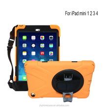 360 degree rotated car seat tab holder hand belt protector case for iPad mini 2 3 with shoulder strap