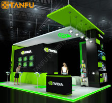 20ftx30ft Trade Show Booth Exhibit Display with LED Light Platform for Game Show Rental from TANFU
