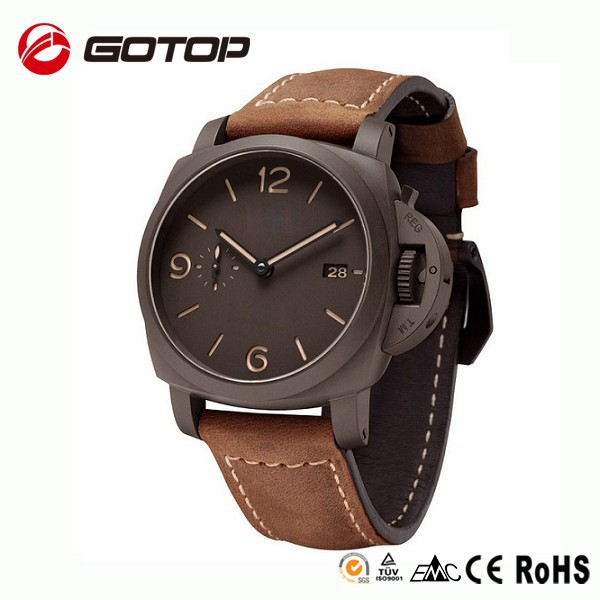 China products stainless steel case back japan movt quartz sports men leather cuff watch