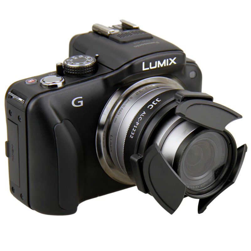 JJC Auto Lens Cap ALC-P1232 Black for Panasonic Lumix G Vario HD 12-32mm F3.5-5.6 Mega OIS lens