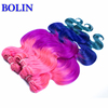 Hot Fashion four tone ombre pink/purple/blue/green human hair malaysian virgin hair Extensions