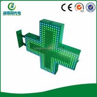 Outdoor Green color non programmable ltwo sides led cross sign display for chruch