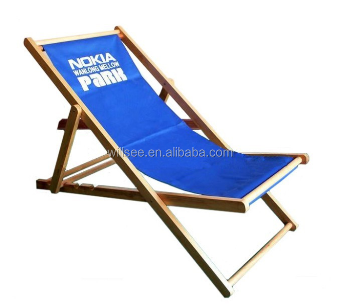 HE-1031,Promotional wooden folding beach deck chair,wood fabric deck chair