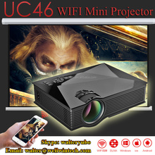 Factory UC46 Mini WIFI Projector 800*480 Wireless 1200 Lumens LED Home Theater Projector Support 1080P With IR/USB/SD/HDMI/VGA