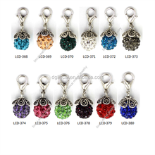 crystal ball enamel color dangle charms for memory locket bracelet