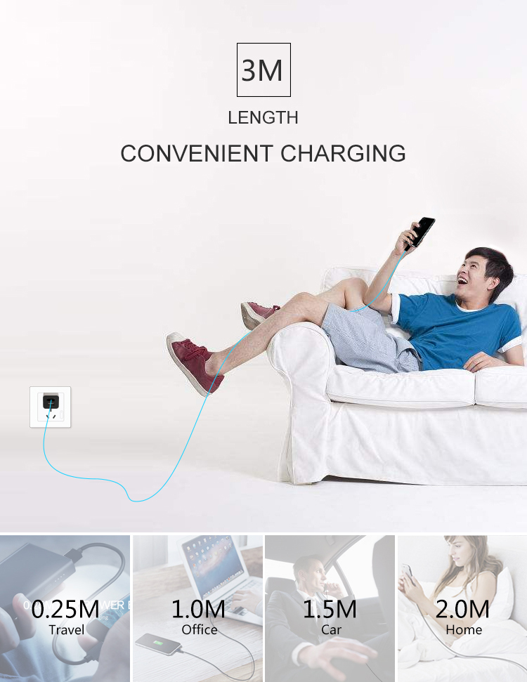 xyzlink 3M/10FT mobile phone charger  usb 2.0 for iphone charging cable