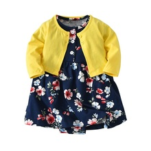 0-24M 2pcs Baby Girls <strong>Dresses</strong> + Coat Clothes Set Outfit Baby <strong>girl's</strong> Long sleeve Romper <strong>Dress</strong>