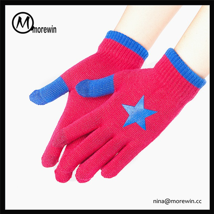 Morewin brand custom smart fingers touch screen texting gloves for kids