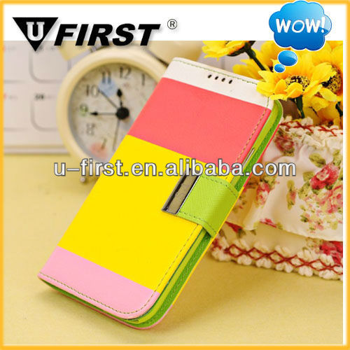 Hot!Korea leather flip cover with card slots for samsung galaxy S4,wholesale mobile phone accessories
