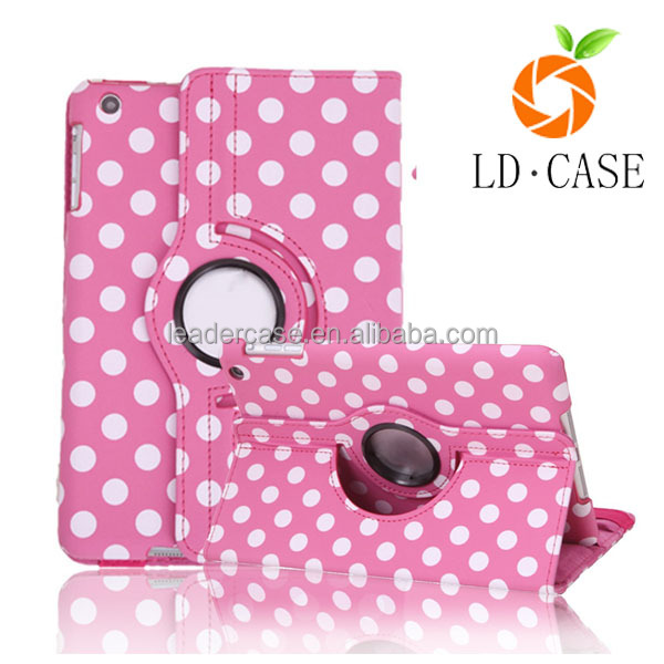 360 degrees rotating stand sewing PU leather flip tablet case for Apple ipad 5 PC back shell full protector