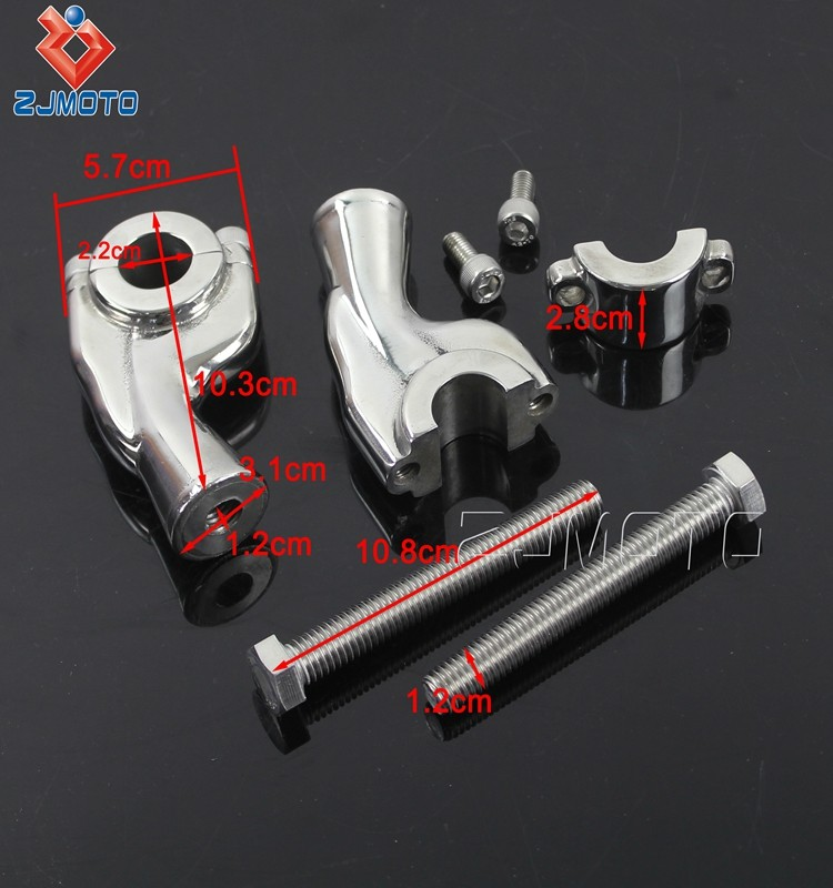 Heavy Billet Aluminum 14cm*10cm*5cm Motorcycle Polish Handlebar Riser Made from Aluminum For 7/8'' (22.2mm) Handlebar Clamp
