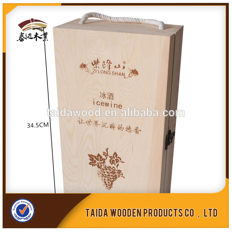 wooden 2 bottles wine box with Sliding lid unfinished pine wood