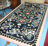 Marble Pietra Dura Excellent Marble Dining Table Tops, Indian Marble Inlay Table Top
