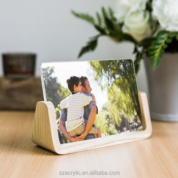 U shape wooden base acrylic photo frame acrylic picture frame