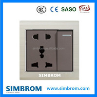 Wall Switch and Socket MF Socket + 1 gang 1 way switch Black