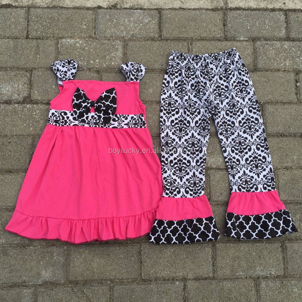 2016 summer baby clothes pink kids outfits free shipping ruffle pants set cool newborn baby girls boutique clothing sets