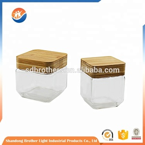 manufacturers china square glass storage jar with wooden lid