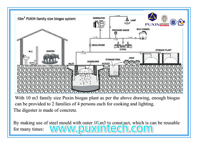 China PUXIN Hydraulic Pressure Low Cost Household Size Biogas Anaerobic  Reactor Design For Kitchen Waste Waste Part 42