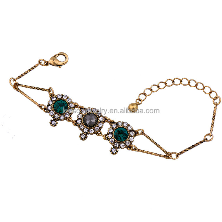 Fashion Women Jewelry Shiny Crystal Gems Bronze Color Chain Charms Pendants Alloy Bracelet