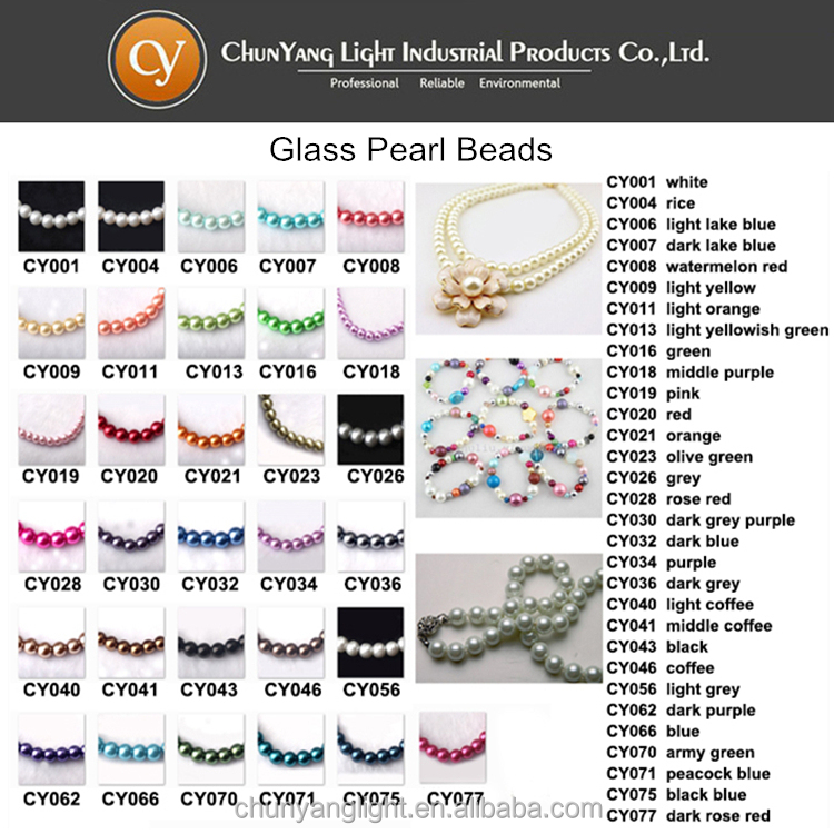 Whosale Differernt Size Colorful Chinese Glass Pearl Beads
