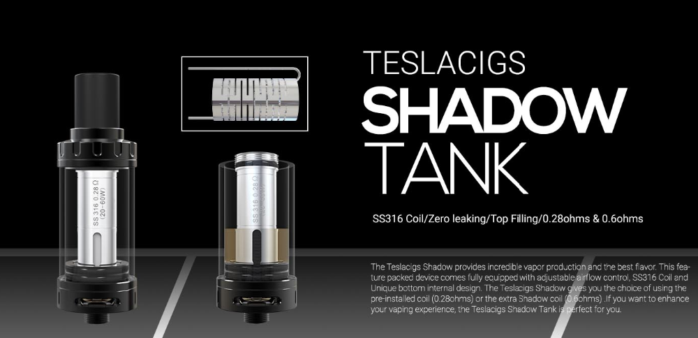 2016 Tesla Revolutionary Vape Tank!! Tesla Newest Ecig Tank & Unique Design with Teslacigs Shadow Mini Tank