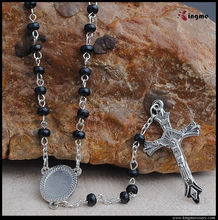 3*4mm Catholic black oval wood jewelry,wooden rosary