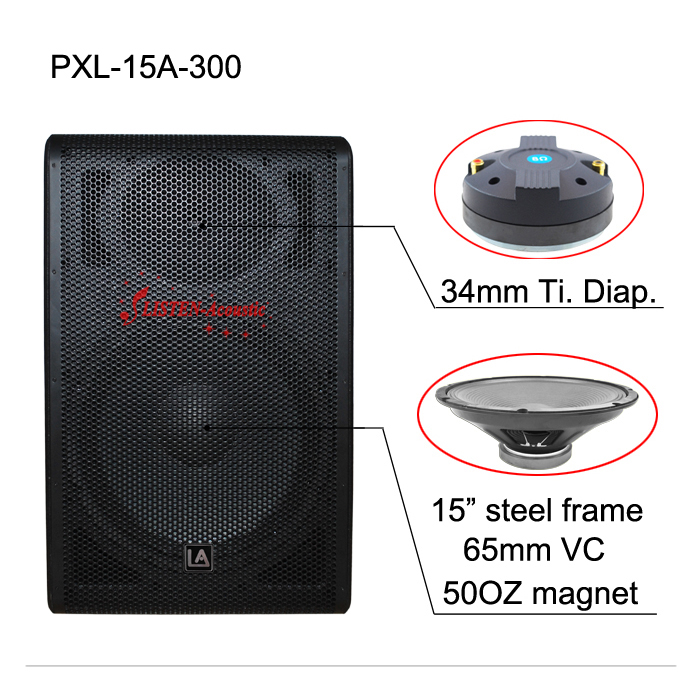 PXL-15A 15 inch Top Quality Powered Plastic Speaker Box