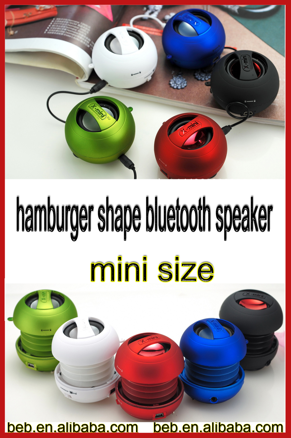 Hamburger speaker wired speaker compatible with android ios cellphone speaker