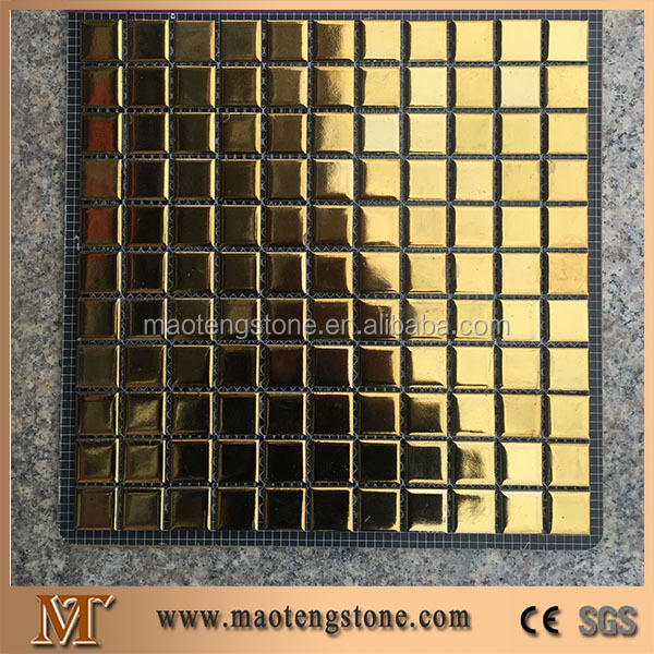 Bright color ceramic mosaic stone tiles golden swimming pool tile