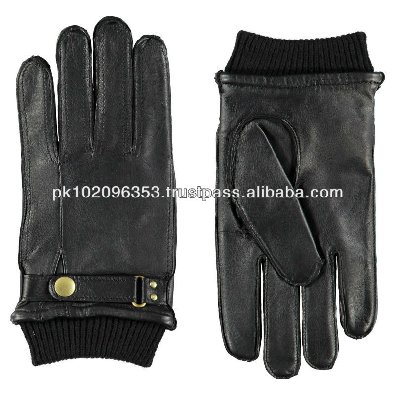 NEW MEN'S BLACK SOLID GENUINE LEATHER DRESS GLOVES/Classic Comfort Dress Gloves/Fashion Style Dress Gloves/