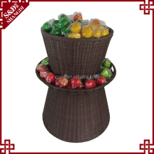 Guangxi supplier factory price fruit and vegetable plastic rattan display stand