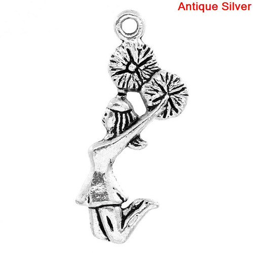 Wholesale Cheerleader Antique Silver Metal Charm Pendants