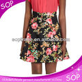 Women clothing fashion floral skirts vintage knee length A line elegant ladies skirt