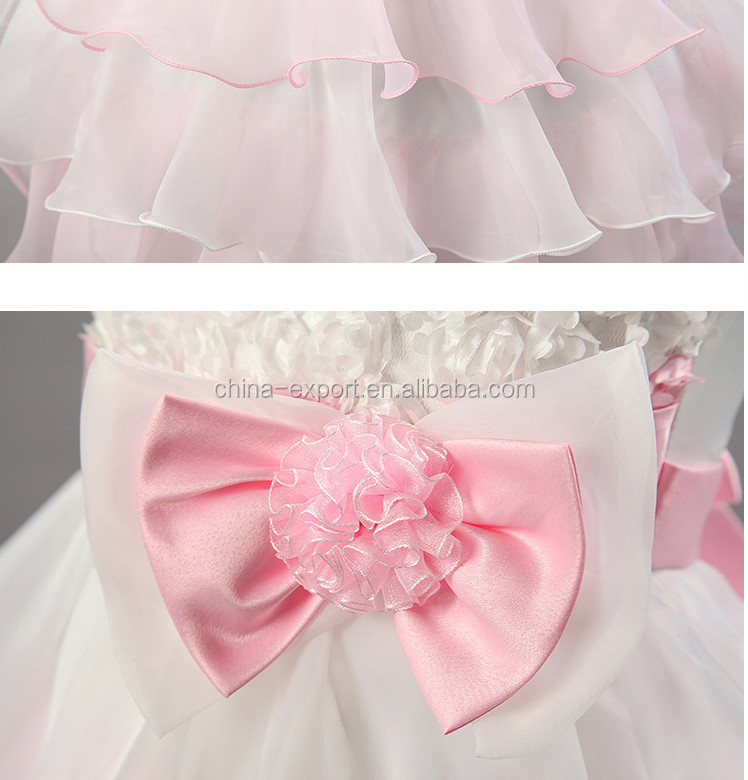 JPSKIRT1505070 2015 wholesale European fashion summer new sleeveless flower girl white pink bowknot wedding princess dresses