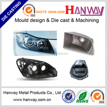 CNC machining aluminum die casting car headlight with custom mould
