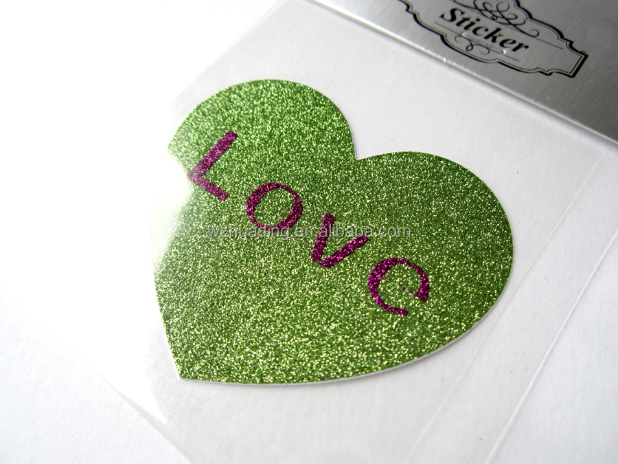 wedding party decorations heart love glitter paper sticker manufacturing
