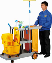 MultiPurpose factory price plastic hotel housekeeping janitorial cleaning cart