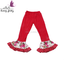 Wholsale Cotton Red Children Clothing Children's Pants & Trousers Girls pink cotton legging with ruffles