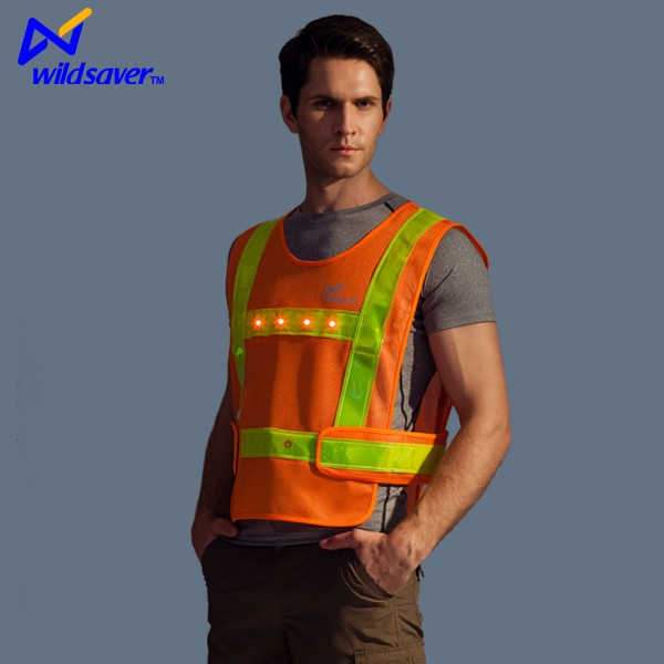 orange green reflective high visibility led safety vest