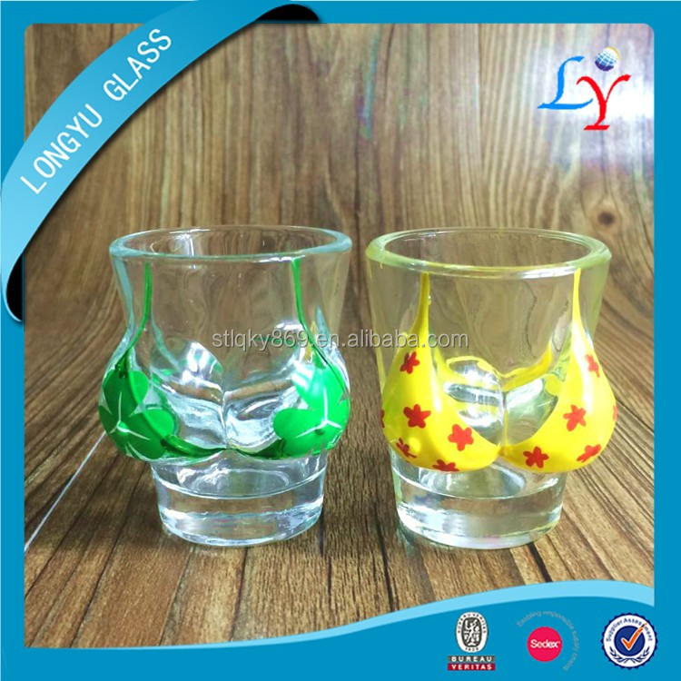 bikini glass shot hand painted woman body breast sexy shot glass
