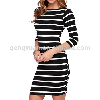 Plus Size White Striped Long Sleeve Straight Casual Dress