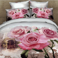 40S flower design 100% cotton 3d printing bed sheet set bedding