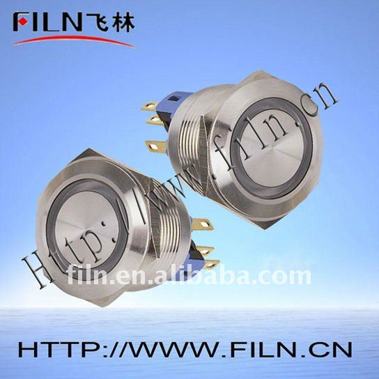 50pcs/lot 22mm flat round 1NO1NC stainless steel nickel plated gold plated metal pushbutton switch LED type fast delivery