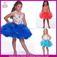 SD594 little girls kids short blue cheap toddler pageant dresses with feather